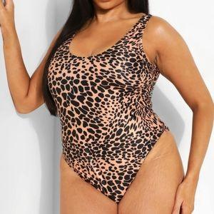 Boohoo Leopard Scoop One Piece Swimsuit Plus Size